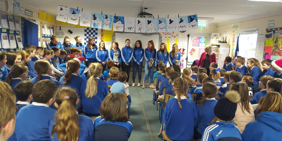 A Visit to Our School from the Kinsale Ladies Football Team.